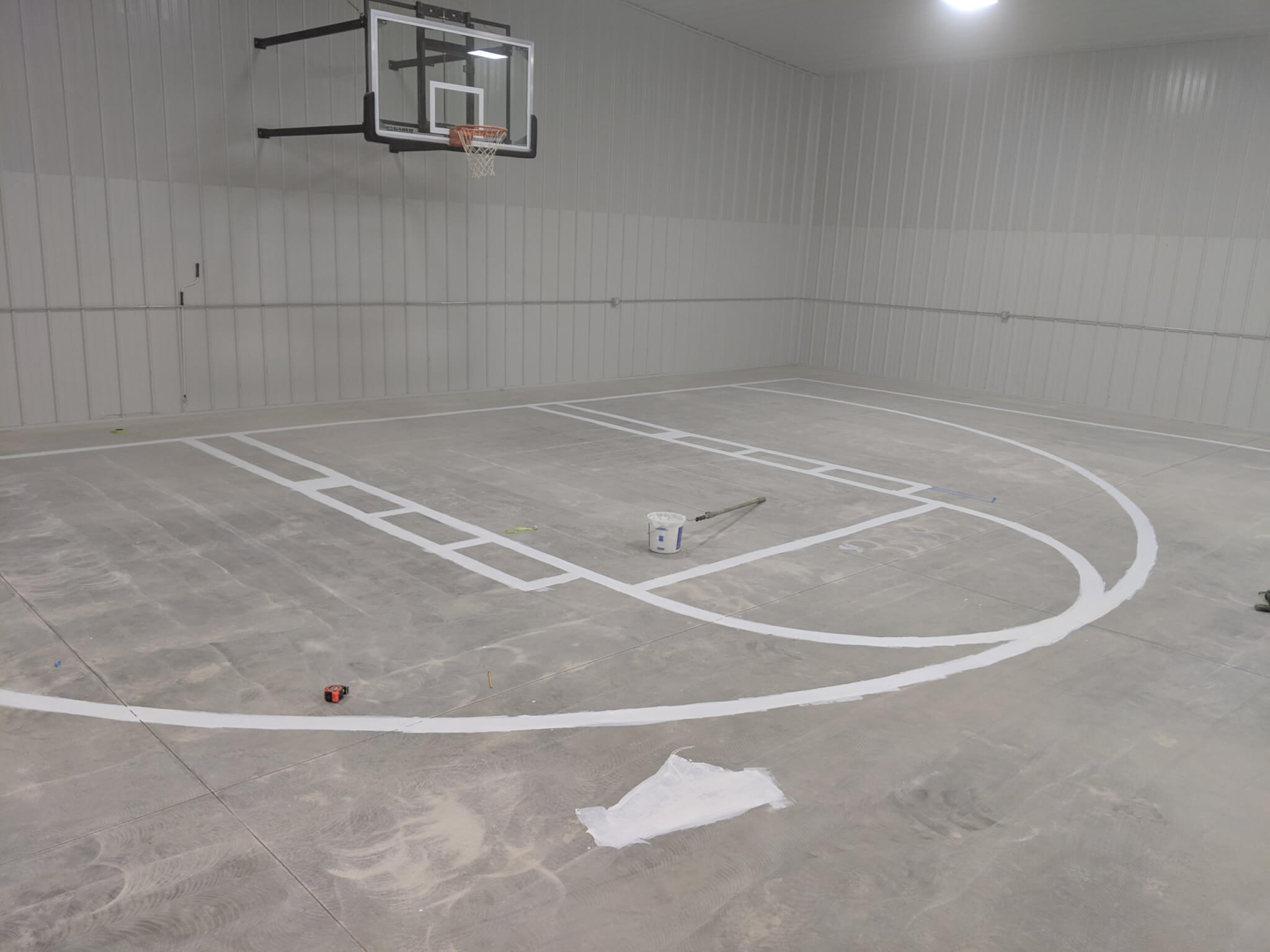 Laying out Basketball Court lines before Epoxy Flooring install